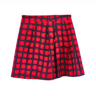 check mini skirt red